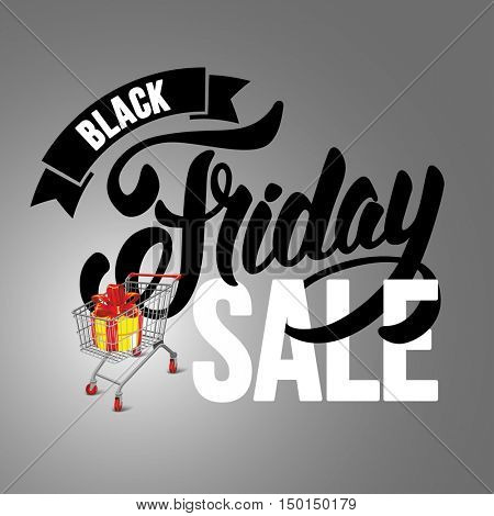 Sale advertising inscription. Black Friday banner with shopping cart. Vector stock template for your business design.