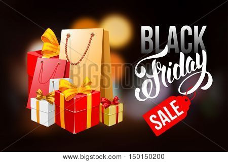 Sale advertising inscription. Black Friday banner with packing bags and boxes. Vector stock template for your business design.