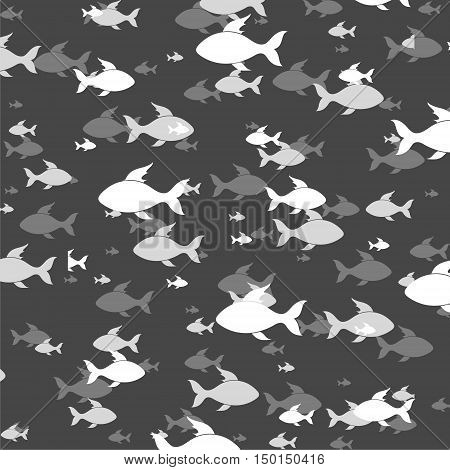 Vector Fish pattern illustration on black background