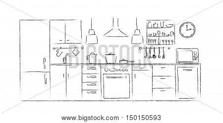 kitchen interior sketches hand vector photo bigstock