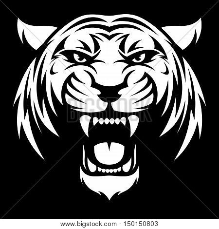 Vector illustration of a head fierce tiger on a black background