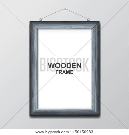 Wooden photoframe against the background of a gray wall with a realistic shadow. A blank space for the text a banner a template. Vector illustration.