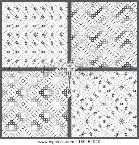 Set of vector seamless patterns. Abstract dotted backgrounds. Repeating modern stylish textures. Graphic design element