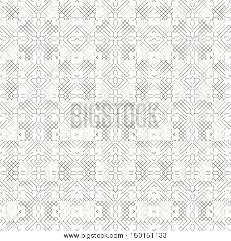 Vector seamless pattern. Abstract linear textured background. Modern geometric texture with thin lines. Regularly repeating geometrical grid with outline rhombuses crosses.
