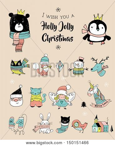 Christmas hand drawn cute doodles, stickers, illustrations. Penguin, bear, owl and unicorn