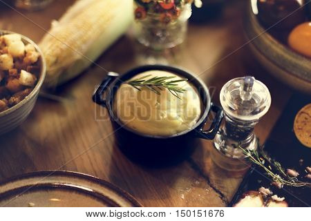 Mashed Potato Corn Food Thanksgiving Table Setting Concept