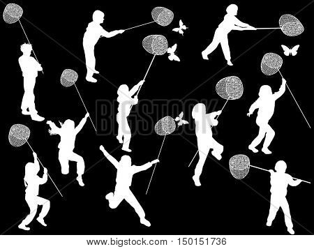 illustration with children catching butterflies silhouettes isolated on black background