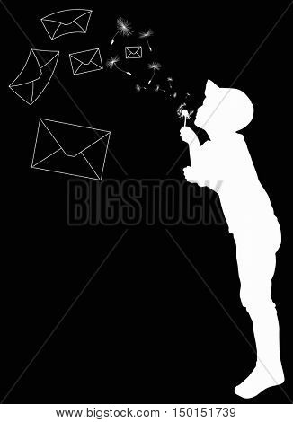 illustration with child blowing on dandelion isolated on black background