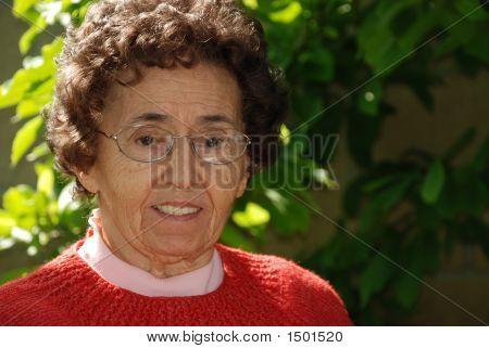 Kind Grandmother In Garden