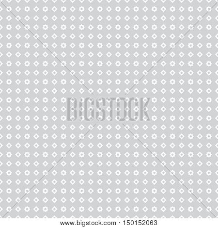 Vector seamless pattern. Abstract small textured background. Classical simple geometrical texture with repeating stars rhombuses dots. Surface for wrapping paper shirts cloths.