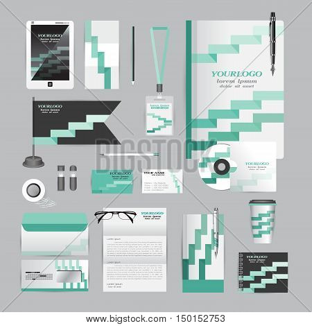 White corporate identity template with Orange origami elements. Vector company style for brandbook guideline and Pens mugs CDs books business cards letterhead flag Card Portfolio employees Tablet flash drive