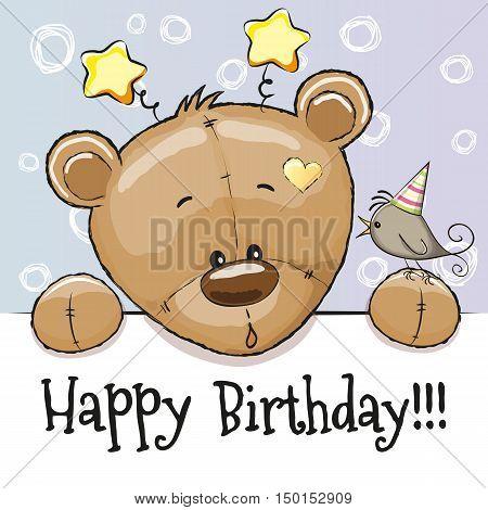Birthday card with Teddy Bear and bird