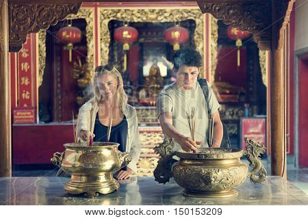 Couple Ceremony Respect Praying Temple Concept