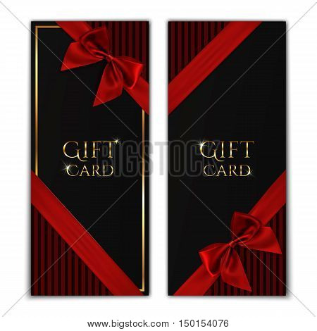 Gift card. Black gift voucher templates with red ribbon and a bow. Vector illustration.
