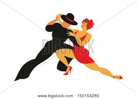 lady in a red dress and the gentleman in a hat dance the Argentina tango