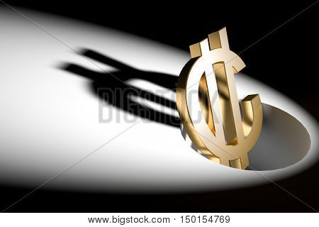 3d illustration currency sign of C