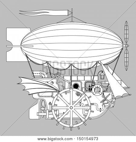 Contour Steampunk complex fantastic flying ship. Retro technology concept. Illustration pattern for coloring book