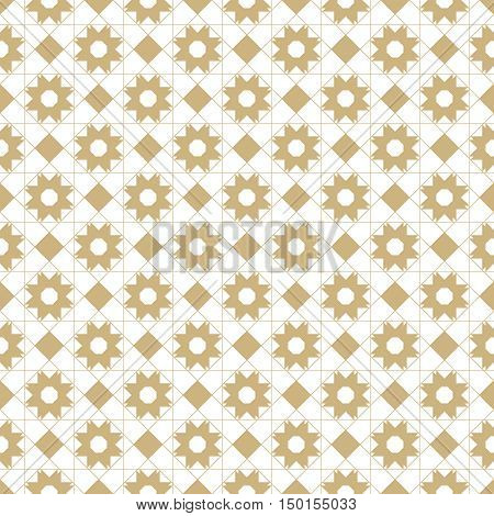 Vector seamless pattern. Abstract textured background. Modern geometrical texture. Regularly repeating stylish tiles with rhombuses stars thin lines. Graphic design element.