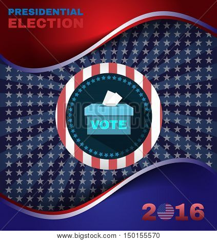 Digital vector usa election with presidential vote box, flat style