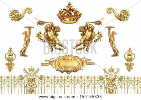 Isolated golden detail to Versailles castle. France