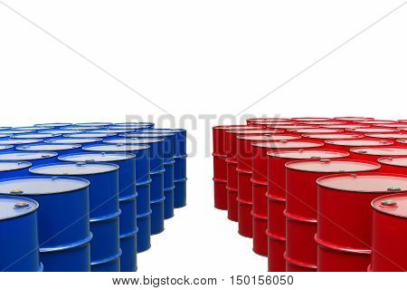 metal barrels of red and blue color