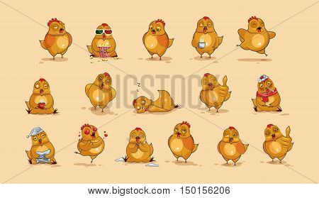 Set Vector Stock Illustrations isolated Emoji character cartoon Hen stickers emoticons with different emotions for site, infographics, video, animation, websites, e-mails, newsletters, reports, comics