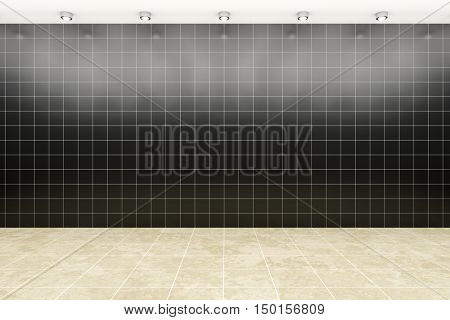 3d rendering of a room with black tiles background