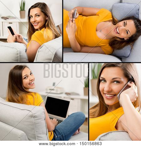 Multiple pictures of a the same woman sitting on a sofa and doing diferent activities
