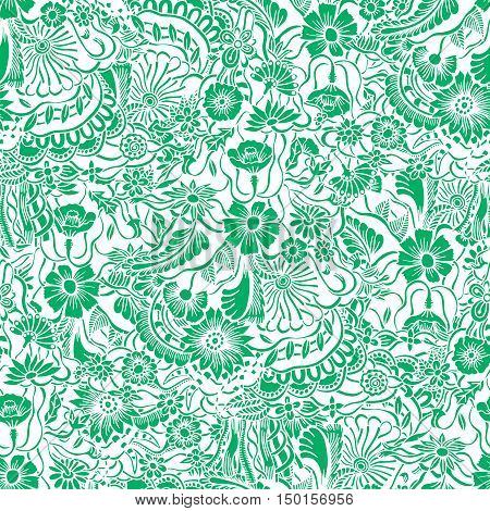 Vector Seamless green Floral Pattern. Hand Drawn Floral Texture, Decorative Flowers, Coloring Book