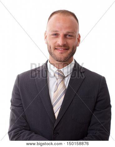 Closeup portrait of happy elegant businessman, looking at camera.