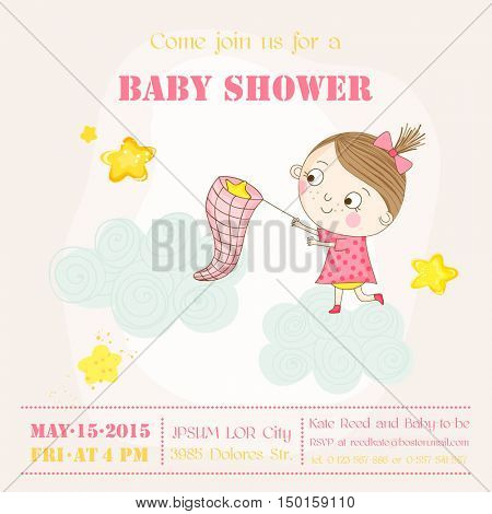 Baby Girl Catching Stars on a Cloud - Baby Shower or Arrival Card - in vector