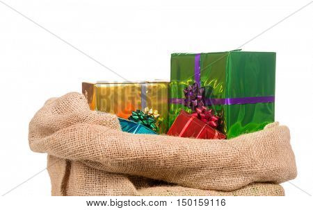 bag of Sinterklaas with gifts .Isolated on white background. Typical Dutch character part of a traditional event celebrating the birthday of st.Nicolaas (Santa Claus) in december.