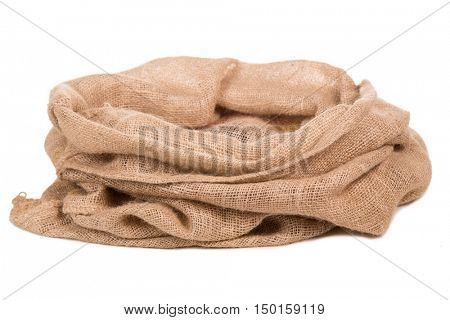 Empty burlap Sack . Isolated on white background.
