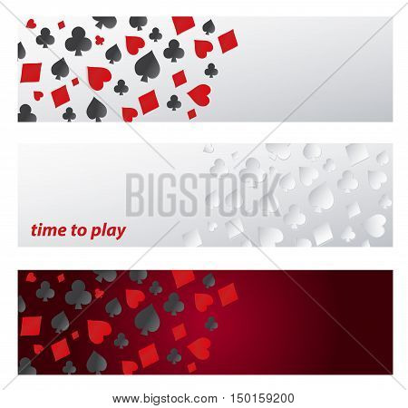 Set Banner - time to play. template pattern with symbol playing cards on white and dark background. Vector banners with card suits, clubs, hearts, diamonds, spades