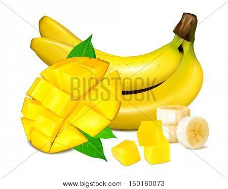 Ripe yellow bananas with mango and slices of fruits. Vector illustrations. Fully editable handmade mesh.