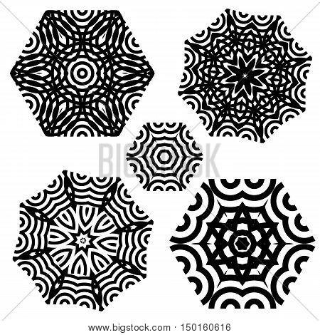 set of elements for design. Stylized flowers mandala.