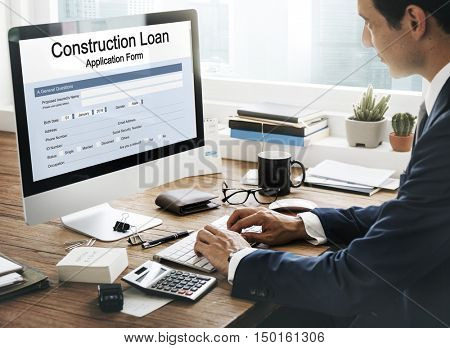 Construction Loan Application Form Concept