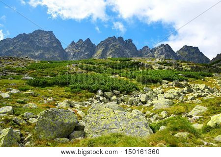 Mountain ridge Bast. Mengusovska Valley in Vysoke Tatry (High Tatras), Slovakia