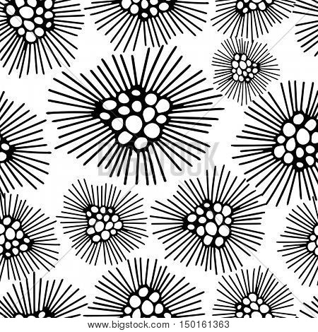 Seamless pattern with abstract black and white dandelion flower background. Vector illustration.