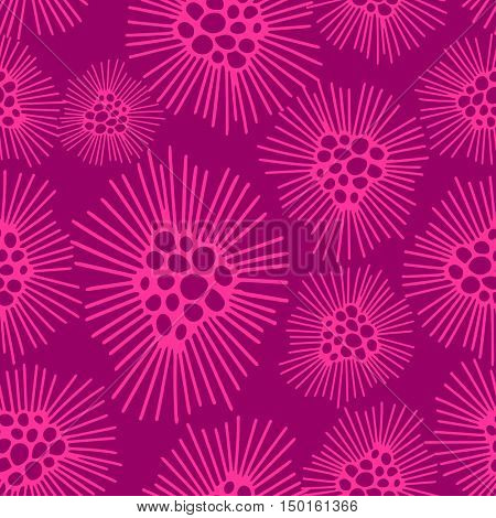Abstract seamless pattern with pink dandelions flowers on dark pink background. Floral ornament for child clothing, paper, print, textile