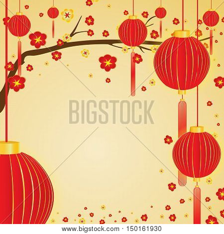 Red and gold flowers in blossom and red lamp in spring on gold background.