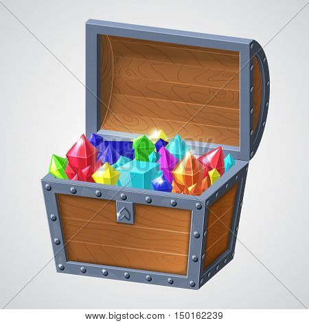 vector illustration of vintage wooden chest with open cover and glowing jewels. isolated on white background.