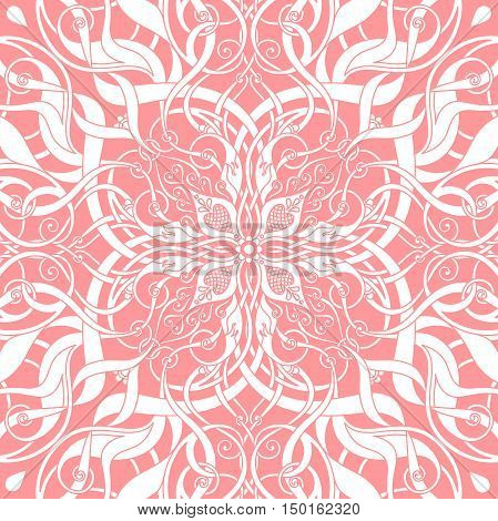 floral decorative pattern on the pink background