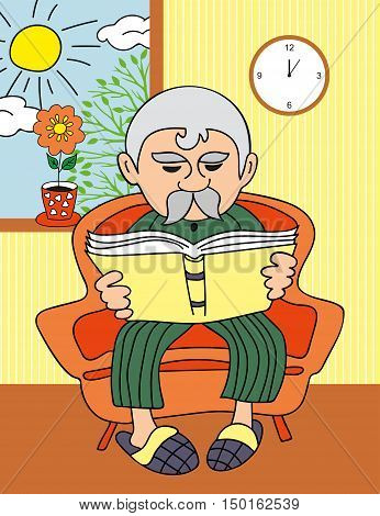 Vector grandfather reading a book  sitting in a chair by the window