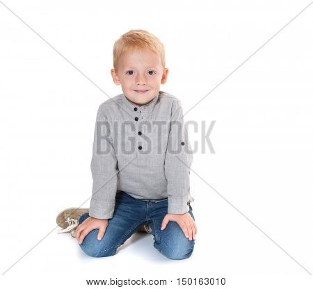 Young boy on white background
