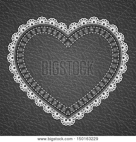 Heart shaped patch with lace border on leather background. Vector illustration