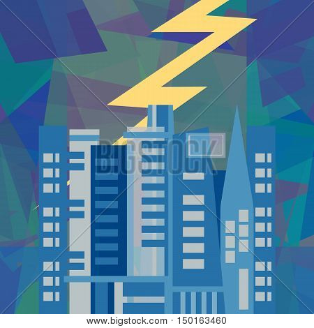 Lightning storm over city, abstract art illustration
