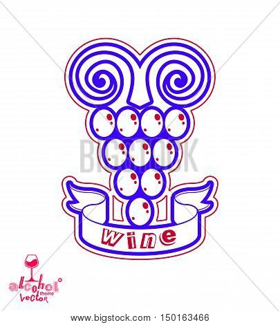 Winery symbol best for use in advertising and graphic design. Creative Grape with vine tendrils isolated on white.