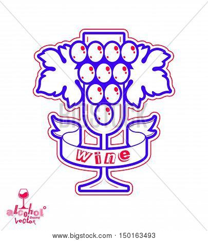 Stylized empty wineglass with grape vine and simple ribbon racemation symbol best for use in advertising and graphic design.