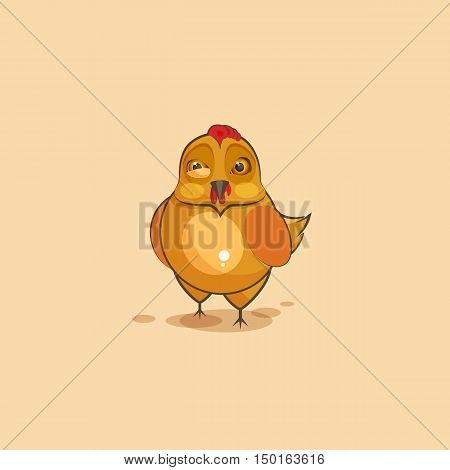 Vector Stock Illustration isolated Emoji character cartoon Hen sticker emoticon with angry emotion for site, infographics, video, animation, websites, e-mails, newsletters, reports, comics